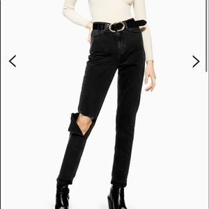 NWT Topshop Washed Black Flap Rip Mom Jeans